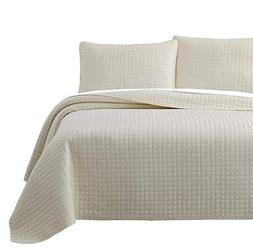 Cozy Beddings Attitude 2pc Quilted Coverlet Set Ivory Twin/T