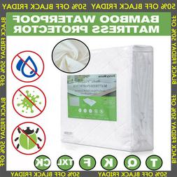 Bamboo Mattress Cover Fitted Bed Protector Pad Topper Twin K