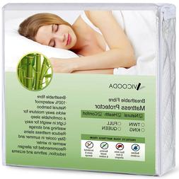Bamboo Mattress Protector Waterproof Breathable Polyester Ma