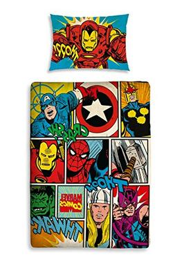 Marvel Comics Strike Junior Panel Duvet Cover + Toddler Bed