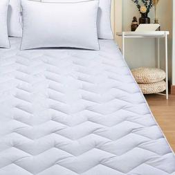 Cotton Mattress Pad Cover Topper Protector Quilted Fitted Ki