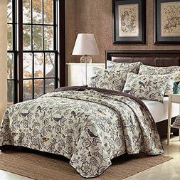 NEWLAKE Country Style Bedspread Comforter Quilt Sets, Flying