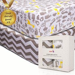 Crib Fitted Sheets | Anti-Shrink 100% Soft Cotton Jersey Kni