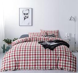 SUSYBAO 3 Pieces Duvet Cover Set 100% Natural Washed Cotton
