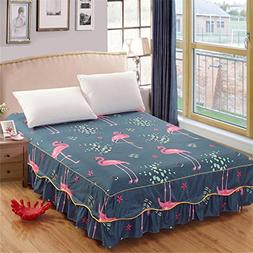 BERTERI Elegant Single Flamingo Bed Skirt without Pillowcase