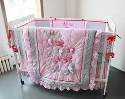 NAUGHTYBOSS Girl Baby Bedding Set Cotton 3D Embroidery Butte