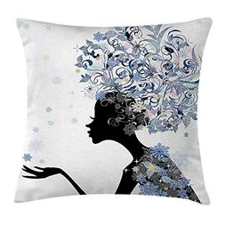 Girls Throw Pillow Cushion Cover, Illustration of a Flower H