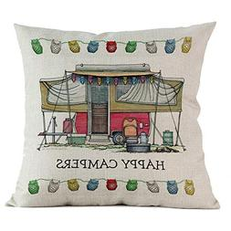 Sunhusing Happy Campers Print Cotton Linen Pillowcase Sofa C