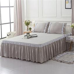 BERTERI Home Textile Grey Bed Skirt Set Bed Sheet Set with 2