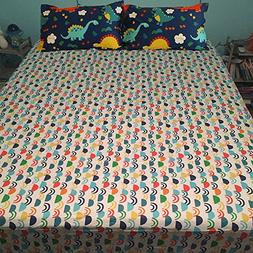 CLOTHKNOW Kids Fitted Sheet Twin Dinosaur Colorful 100 Cotto