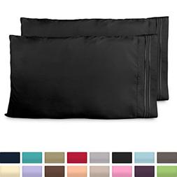 Cosy House Collection King Size Pillow Cases - Luxury Black