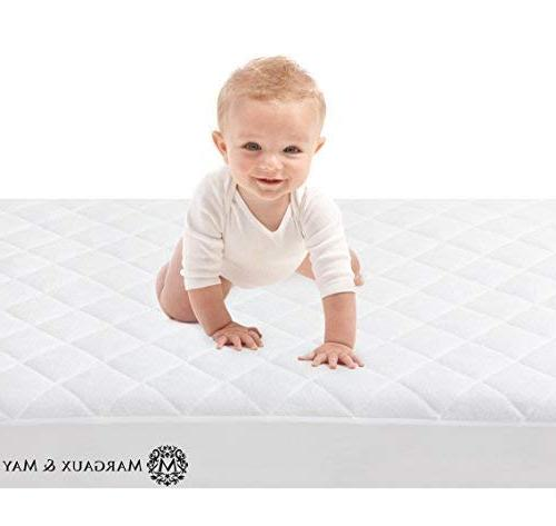 Ultra Bamboo Fiber by Margaux & Fitted Quilted Mattress Pad for Your Crib. High Protection Baby
