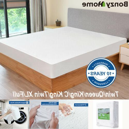 Bamboo Mattress Cover Fitted Bed Twin King Queen Waterproof