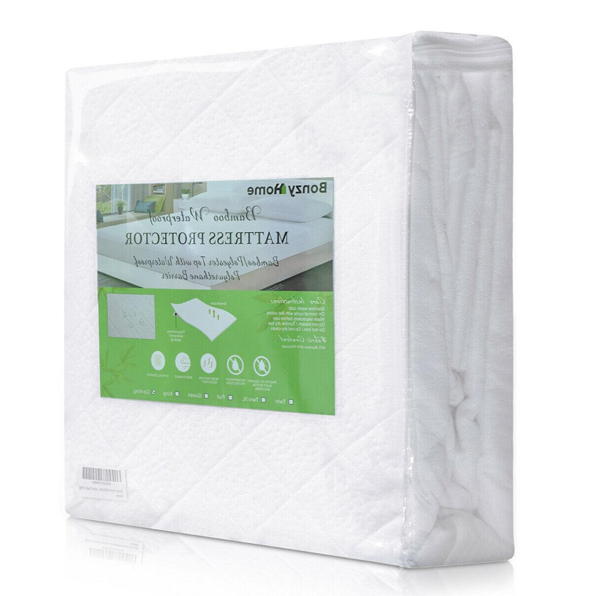 Bamboo Mattress Cover Fitted Bed Protector Waterproof Pad To
