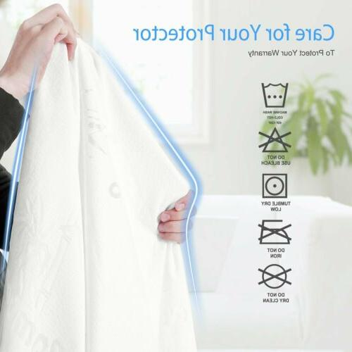 Bamboo Cotton Waterproof Mattress Cover Protector Full King Hypoallergenic