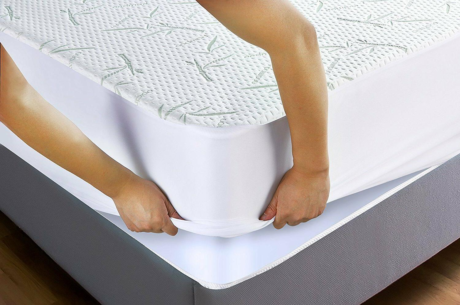 Waterproof Bamboo Mattress Protector Fitted Breathable Cool