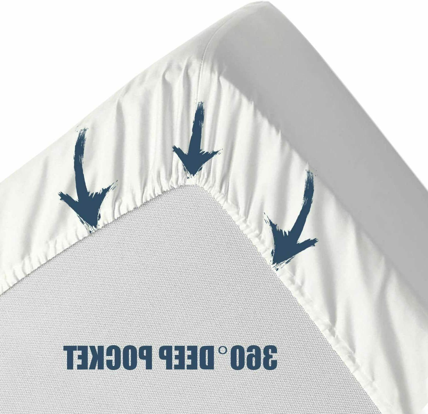 """Fitted Mattress Cover Protector Pocket Stretches Up 16"""" All Sizes"""