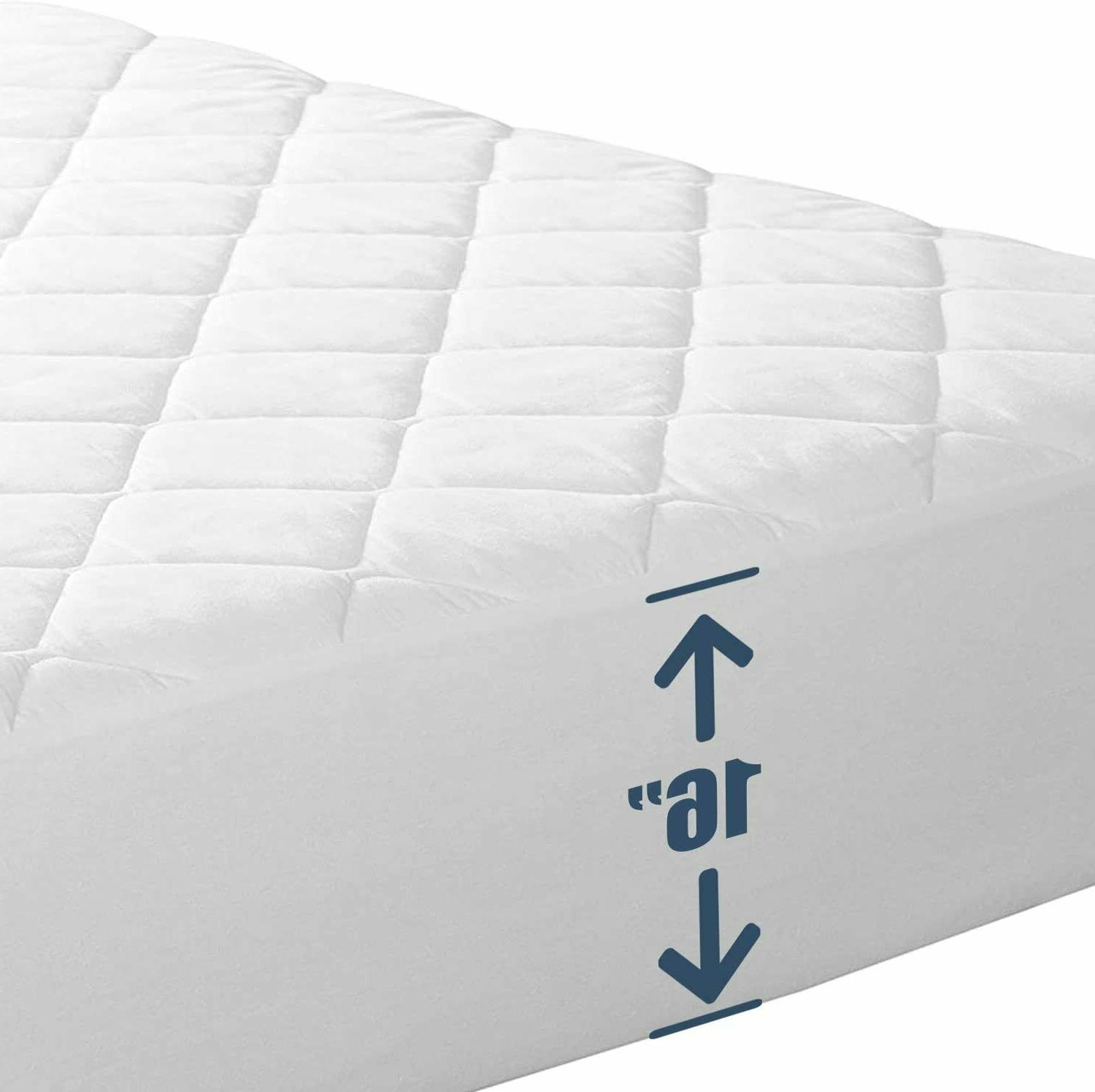 """Fitted Mattress Pad Cover Protector Deep Pocket Stretches Up To 16"""" All Sizes"""