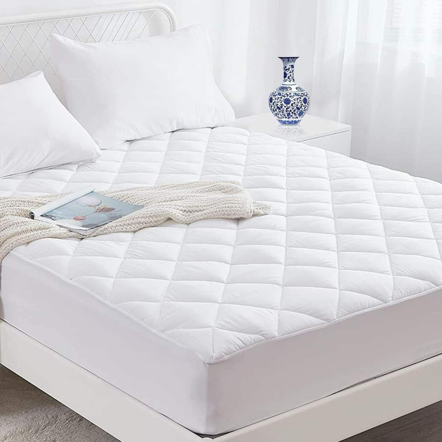 fitted mattress pad cover protector deep pocket