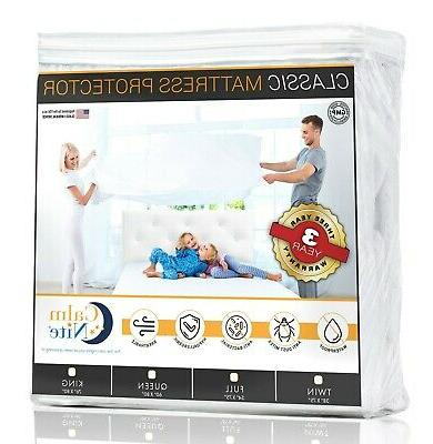 CALM NITE Full Size Mattress Pad Protector - Waterproof & Hy