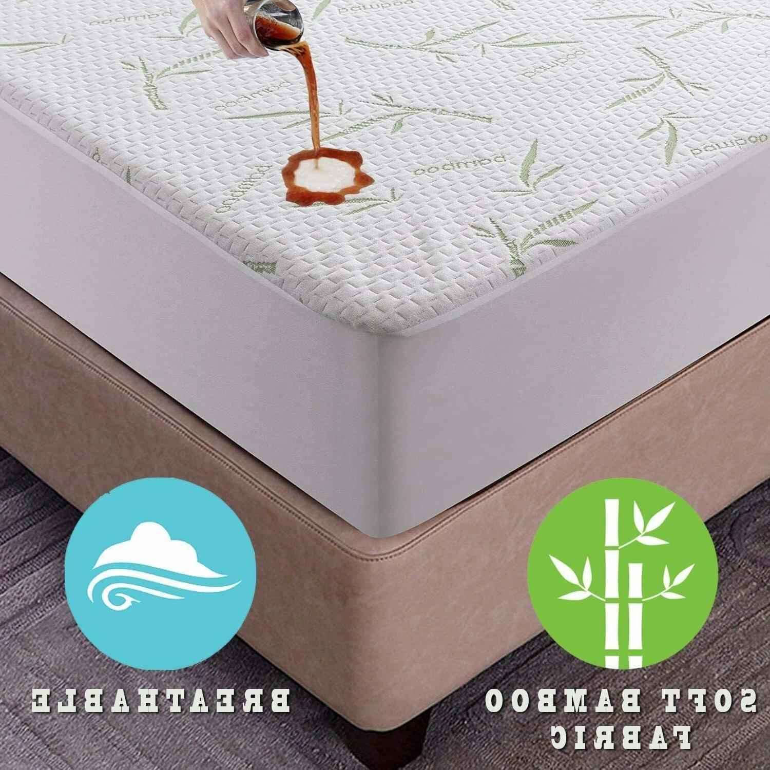 Bamboo Mattress Protector Hypoallergenic & Breathable Waterp