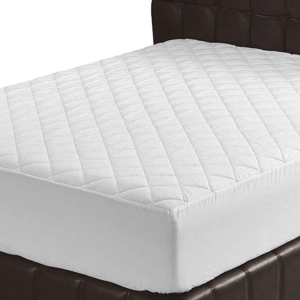 "Quilted Fitted Mattress Pad Cover Stretches Up To 16"" Deep B"