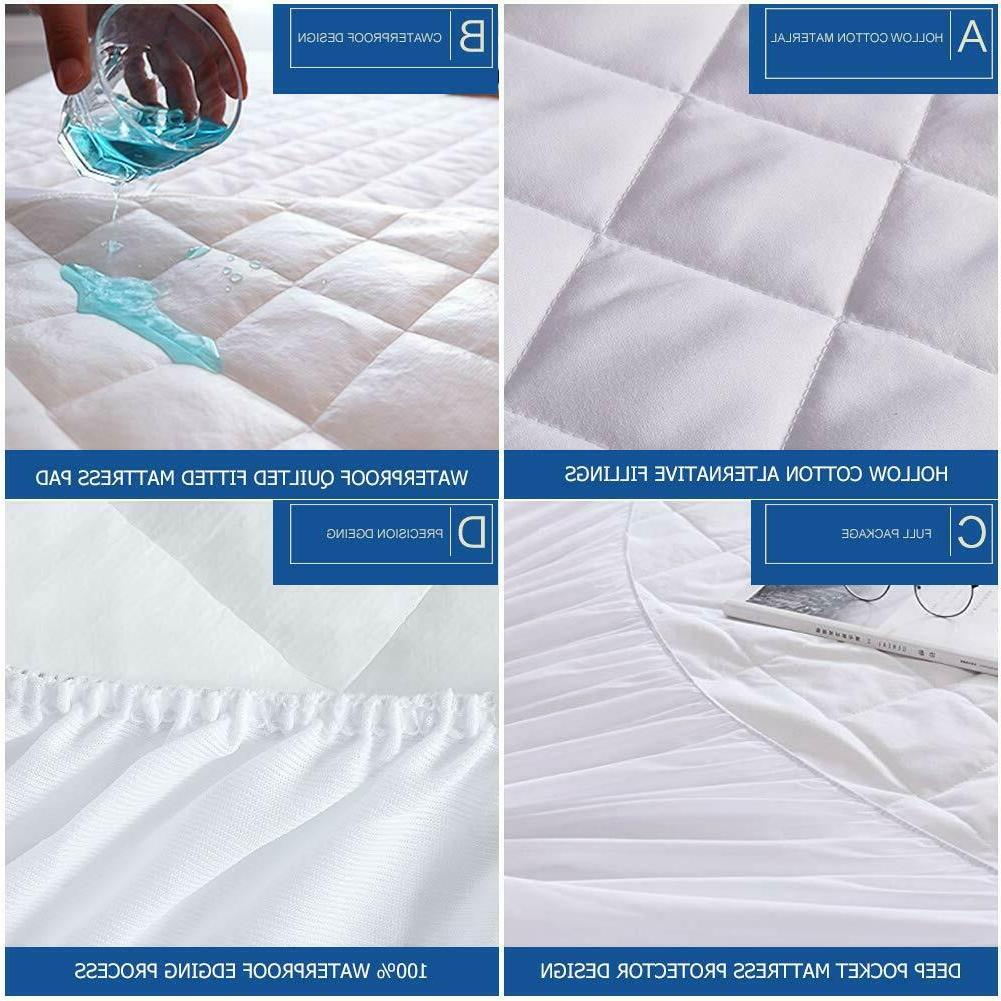 Quilted Waterproof Hypoallergenic BedBug Mattress Pad Cover Protector Fitted