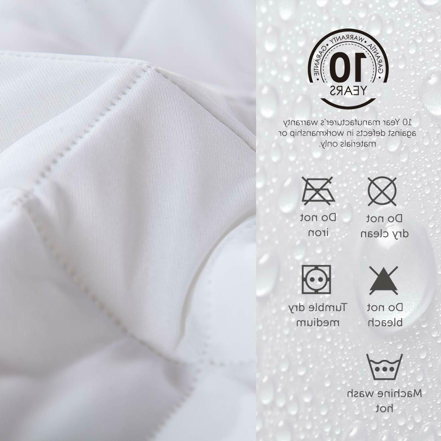 Quilted Waterproof Hypoallergenic Mattress Pad Cover Protector Fitted Top