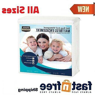 Utopia Mattress Protector Zippered Encasement Bed Bug Water