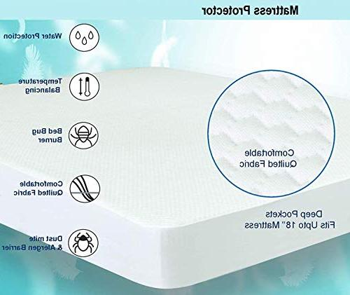 Vinyl Full Waterproof & Hypoallergenic Antibacterial, Allergen Barrier Quilted Mattress Pad, Fitted Sheet Mattress Topper White