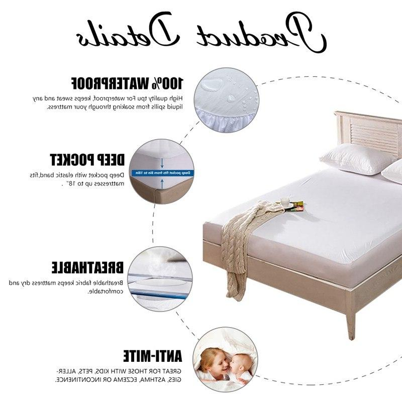 Waterproof <font><b>Protector</b></font> <font><b>Mattress</b></font> Cover Twin Breathable Hypoallergenic Fabric Sheet with