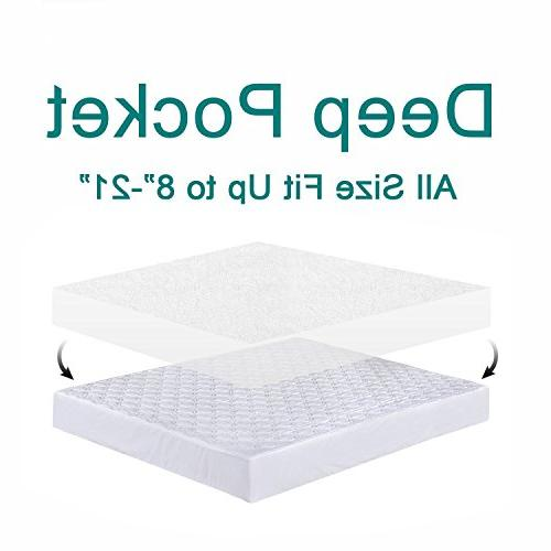 "Tastelife Queen Waterproof Mattress Pad Fitted 8"" - 21"" Deep Vinyl"