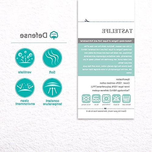 "Tastelife Mattress Pad Fitted 8"" Deep - Hypoallergenic Vinyl Free"