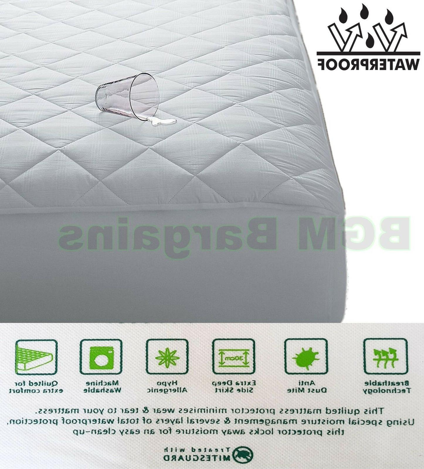 Waterproof Quilted Mattress Protector Cot Bed Wet Matress Pi