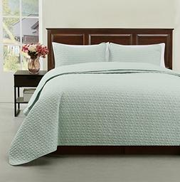 Madison Full/Queen Size 3pc Quilted Bedspread Aqua Green Col