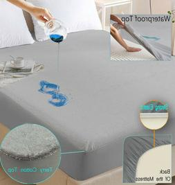 Mattress Protector Cotton Terry Hypoallergenic Waterproof Fi