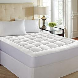 LoftWorks MP-113-7K Mattress Pad Bed with Skirt-Overfilled w
