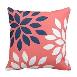 Navy and Coral Floral Pillow Case Cover 18 x 18 inches