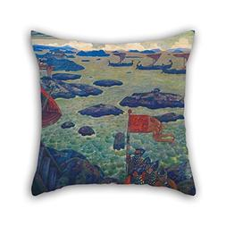 Oil Painting N. Roerich - Ready For The Campaign  Cushion Ca