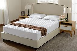 King Size Quilted Mattress Pad and Protector Fitted Up to 18
