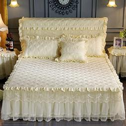 KIM DECO Quilted Cotton Bed Sheet With Skirt, European Pleat
