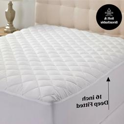 Quilted Mattress Cover Pad Protector All Sizes Cooling Breat