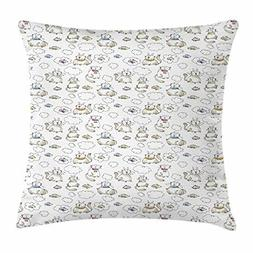Sketch Throw Pillow Cushion Cover, Chubby Kitties Above The