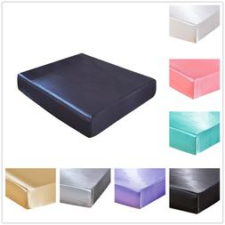 Solid Anti-slip Silk Satin Mattress Protector Cover Bed Fitt