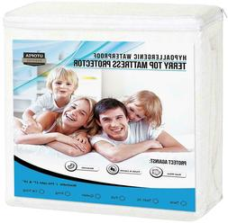 Terry Top Waterproof Mattress Protector Fitted Around Elasti