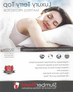 Terry Waterproof Mattress Cover Protector Queen Dust Mite Pr