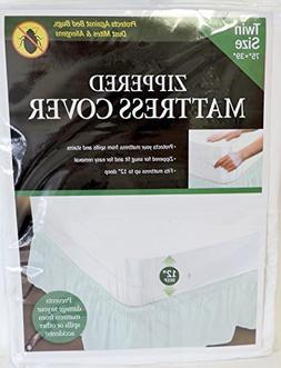 Twin Size Zippered Mattress Cover Vinyl Keeps Out Bed Bugs &