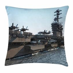 US Navy Throw Pillow Cushion Cover, Aircraft Carrier with Je