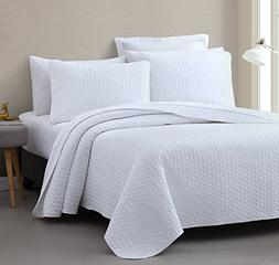 Vega PREWASHED 3 Piece Quilted Quilt, Coverlet & Bed Cover S