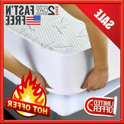 Waterproof Bamboo Mattress Protector Hypoallergenic Fitted C